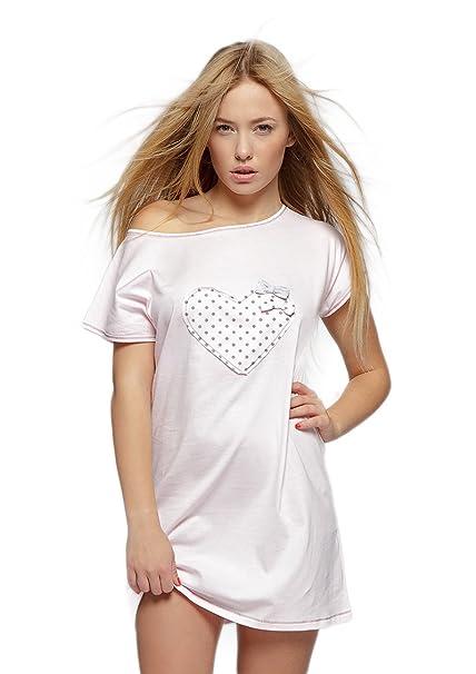 af4c6b586e Sensis Camicia da notte con dolcissima applicazione cuore, 100% cotone,  made in EU: Amazon.it: Abbigliamento