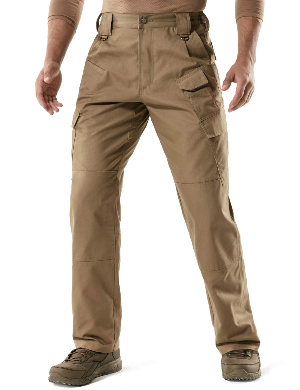 CQR Men's Tactical Pants Lightweight EDC Assault Cargo, Duratex Mag Pocket(tlp107) - Coyote, 40W/32L by CQR