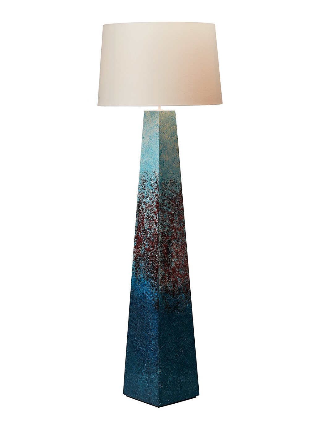 O'THENTIQUE Large Handpainted Beach Floor Lamp | Red Blue Color Modern Nautical House Ocean Style for Contemporary Coastal Living Room, Bedroom, Kids Room, Office, Library