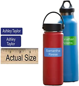 Water Bottle Labels Self Adhesive Custom Printed (36 Labels) for Water Bottles, Baby Bottles, Sports Bottles - Dishwasher Safe - Choose Color and Text - Ships Out Within ONE Business Day