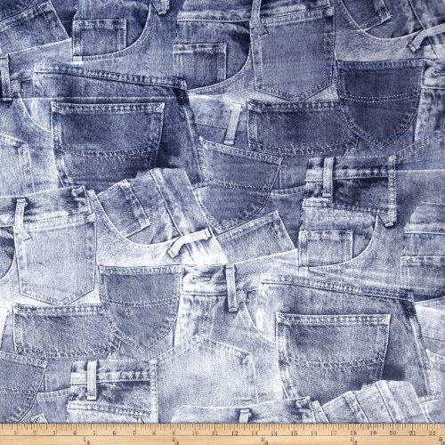 E.Z Fabric, Inc. 0338857 Minky Denim Wash Pockets Blue Fabric by The Yard,