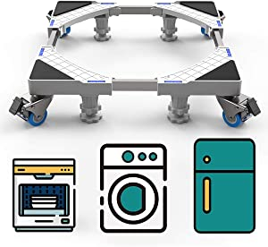 SEISSO Multifunctional Base Stand with Wheels Movable, Telescopic Base with 4 Rubber Locking Swivel Wheels and 4 Strong Feet, Easily Movable Holder for Washing Machine Dryer Refrigerator Cabinet