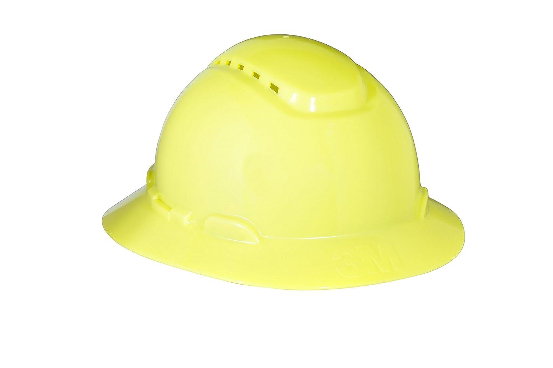 3M Full Brim Hard Hat H-809V, Hi-Vis Yellow 4-Point Ratchet Suspension, Vented