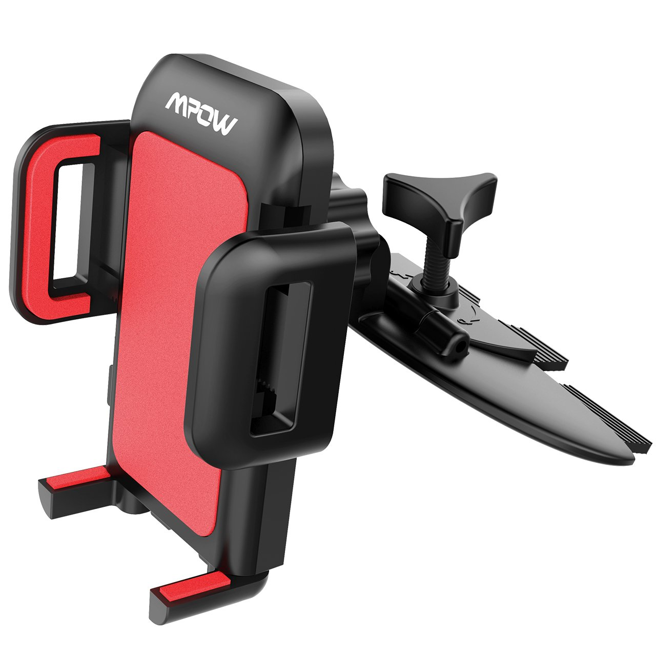 Mpow Car Phone Mount,CD Slot Car Phone Holder Universal Car Cradle Mount with Three-Side Grips and One-Touch Design for iPhone