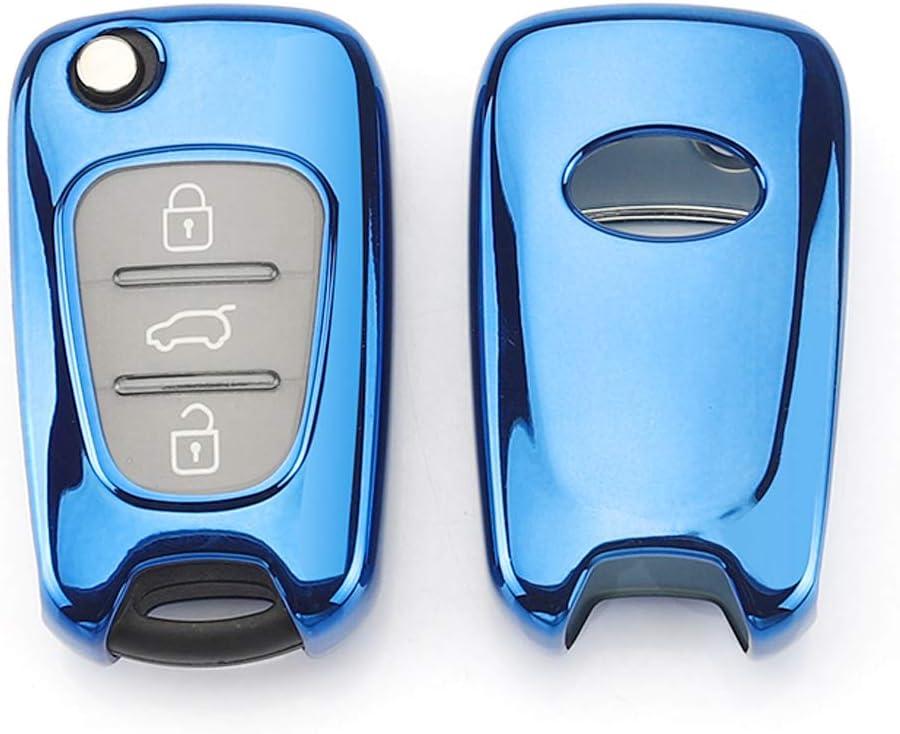 Plata Funda de TPU Suave para Llave para Coche Hyundai i20 i30 i35 i40 iX20 iX35 iX55 KIA K2 K5 Elantra Rio Rondo Soul Sportage 3 Buttons Cobertura Total