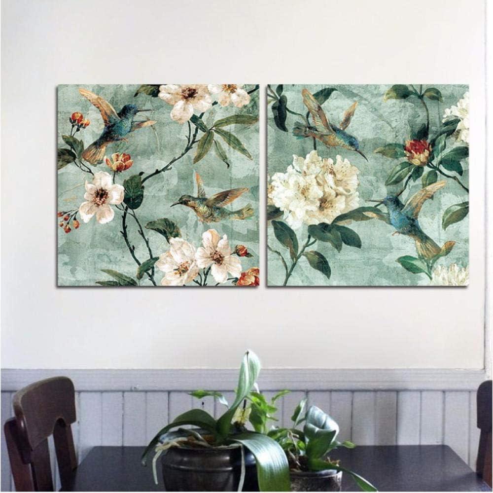 ELMSART 2 unids/Set Flores Blancas decoración Moderna Azul Animal pájaros Pared Arte Cuadros Lienzo Pintura para Sala de Estar decoración del hogar 50x50cmx2sin Marco