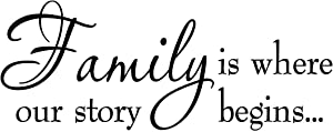 VWAQ Family is Where Our Story Begins Family Wall Decals Inspirational Quotes Home Decor