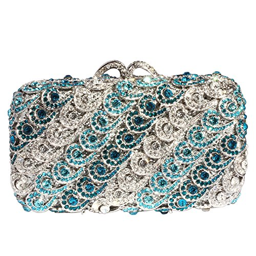 Digabi Wave Pattern Women Crystal Evening Clutch Bags (One Size : 74.52.2 IN, blue crystal - silver plated) by Digabi