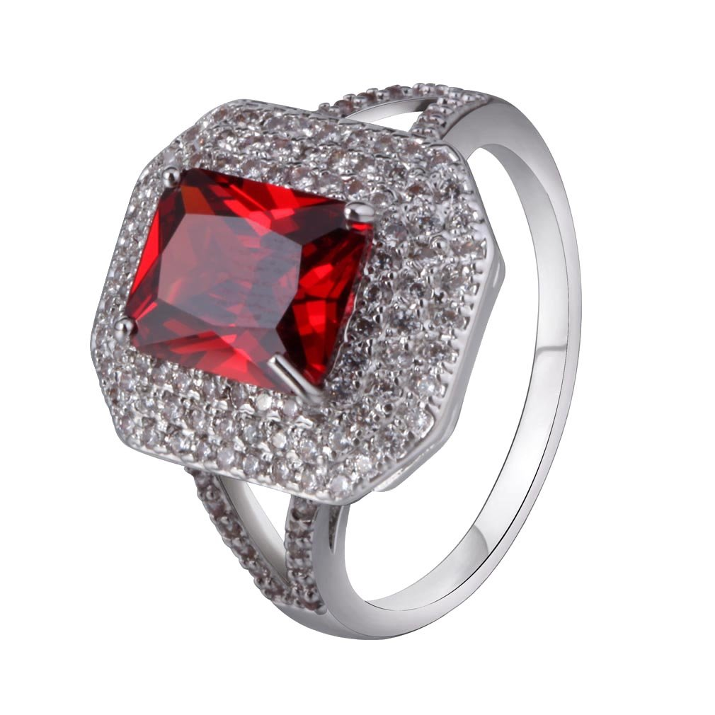 YAZILIND Bridal Women Silver Plated Beautiful Red Created Ruby Enternity Promise Band Wedding Ring Size 9
