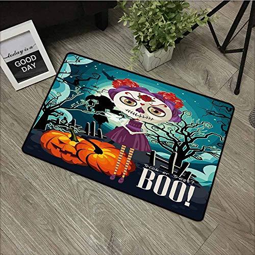 LOVEEO Custom Doormat,Halloween Cartoon Girl with Sugar Skull Makeup Retro Seasonal Artwork Swirled Trees Boo,Easy Clean Rugs,16
