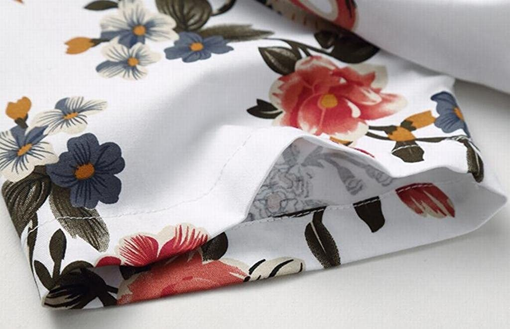 SHOWNO Mens Plus Size Cotton Red-Crowned Crane Floral Printed Short Sleeve Blouse Shirt