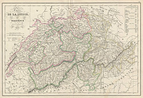 Historic Map | Delamarche Map of Switzerland, Version 2, 1843 | Historical Antique Vintage Decor Poster Wall Art | 24in x 36in