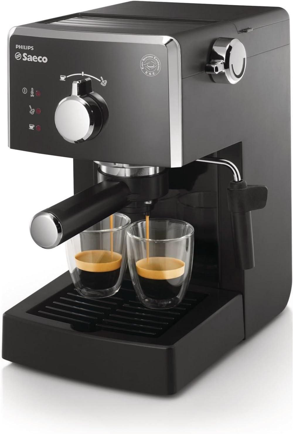 Saeco HD842301 - Cafetera espresso, manual y monodosis, 15 bares, deposito agua 1,2 L, color negro: Amazon.es: Hogar