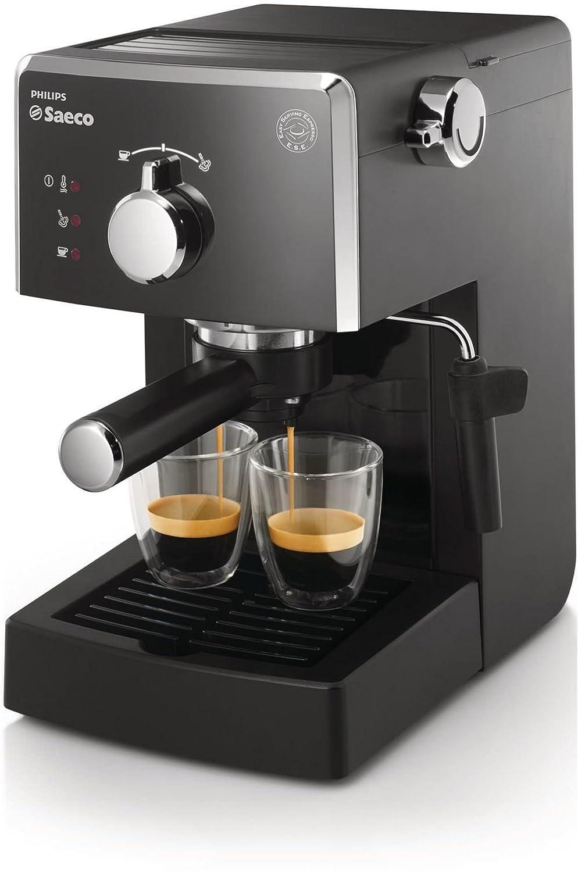 Saeco HD842301 - Cafetera espresso, manual y monodosis, 15 bares, deposito agua 1,2 L, color negro