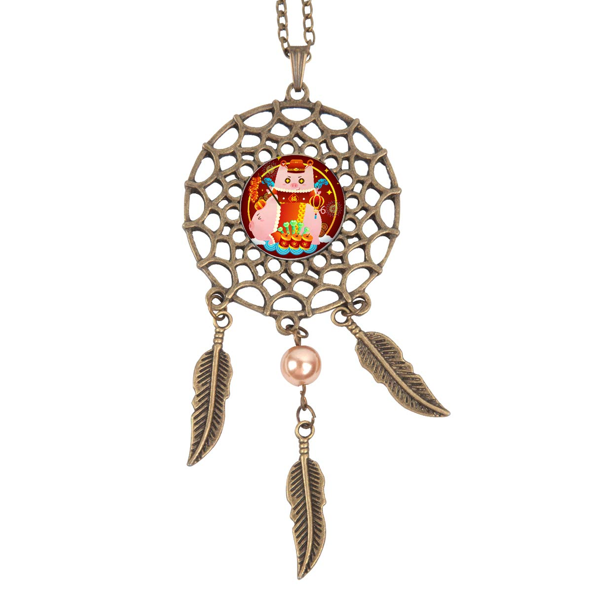 Queen Area Dream Catcher Necklace Red Pig Pendant Dangling Feather Tassel Bead Charm Chain Jewelry for Women