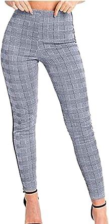 Bolawoo 77 Pantalones A Cuadros Para Mujer Pantalones Casuales Ajustados De Cintura Alta Pantalones De Festivo Chandal De Cintura Alta Con Rayas Laterales Moda 2019 Ropa De Mujer Amazon Es Ropa Y Accesorios