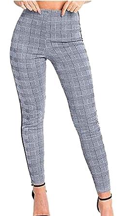 BOLAWOO-77 Pantalones A Cuadros para Mujer Pantalones Casuales ...