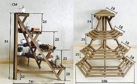 SED Soporte para Flores al Aire Libre - Estantes para Flores Estante para Plantas de Madera Maciza Troncos creativos de Varios Pisos Soporte para Flores Estilo Escalera Escalera Decorativa con balcón: Amazon.es: