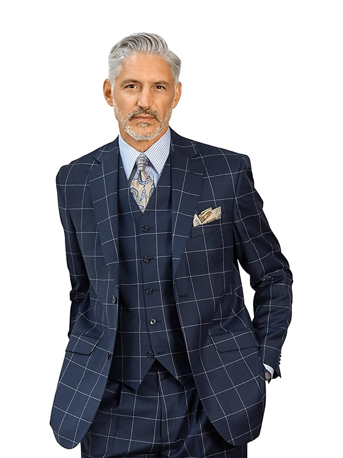 Men's Vintage Style Suits, Classic Suits Paul Fredrick Mens Wool Windowpane Sport Coat $199.98 AT vintagedancer.com
