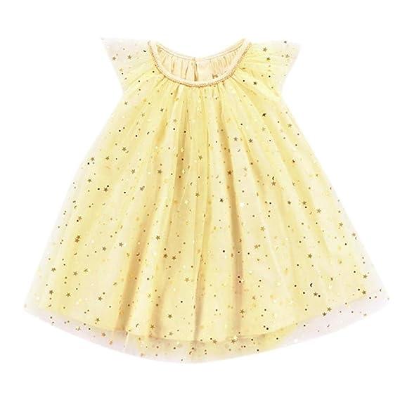 Btruely Herren Vestidos para bebe Niña Vestidos Sin mangas Tutú Vestidos de Casual de fiesta Amarillo