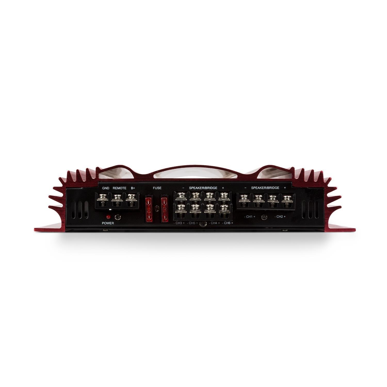6 x 65 1 x 100 Watts /• filtres Passe-Haut et Passe-Bas r/églables /• 10 Hz 30 kHz /• bridgeable /• Rouge Auna C500.6 /• Amplificateur HiFi Voiture /• Amplificateur Voiture 6 canaux /• Puissance RMS