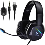 SOMIC Gaming Headset with Mic for PS4, Xbox One, PC Stereo Sound Headphone with Detachable Microphone, LED Light, Soft Earmuf
