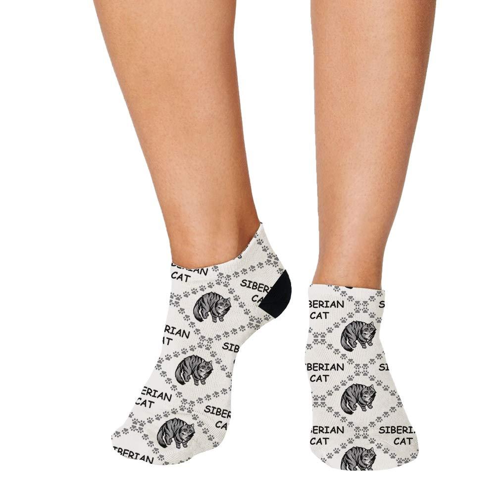 Siberian Cat Paws Pattern #4 Men-Women Adult Ankle Socks Crazy Novelty Socks