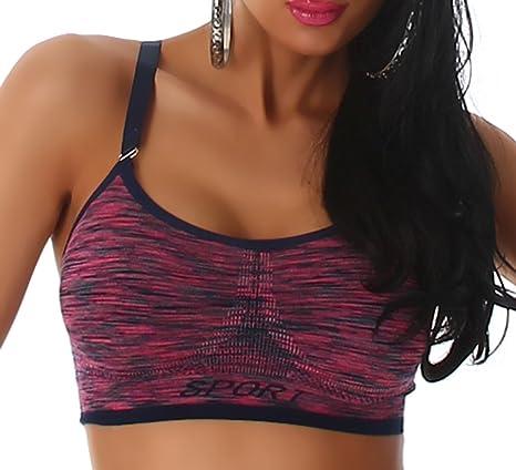 Ouno Mujer Tirantes sporttop Fitness Danza Tanktop bauchfrei ...
