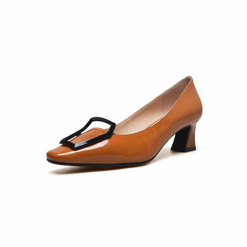 schuheES Weiblicher Lederner Pferdeschuh des Schuhen Einzelnen Schuhes mit Niedrigen Schuhen des der Metallschnalle mit Vier Jahreszeiten Schuhen Rot 36 bec28a