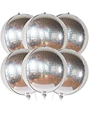 Big 6 Pieces 22 Inch Disco Ball Balloons - Metallic Silver Balloons | Silver Mylar Balloons , 360 Degree 4D Round Silver Foil Balloon | Holographic Disco Party Decorations, New Years Decorations 2022
