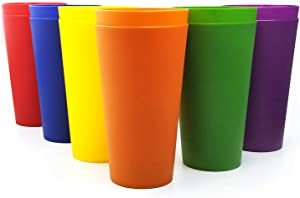 32-ounce Plastic Tumblers Large Drinking Glasses, Set of 12 Multicolor - Unbreakable, Dishwasher Safe, BPA Free