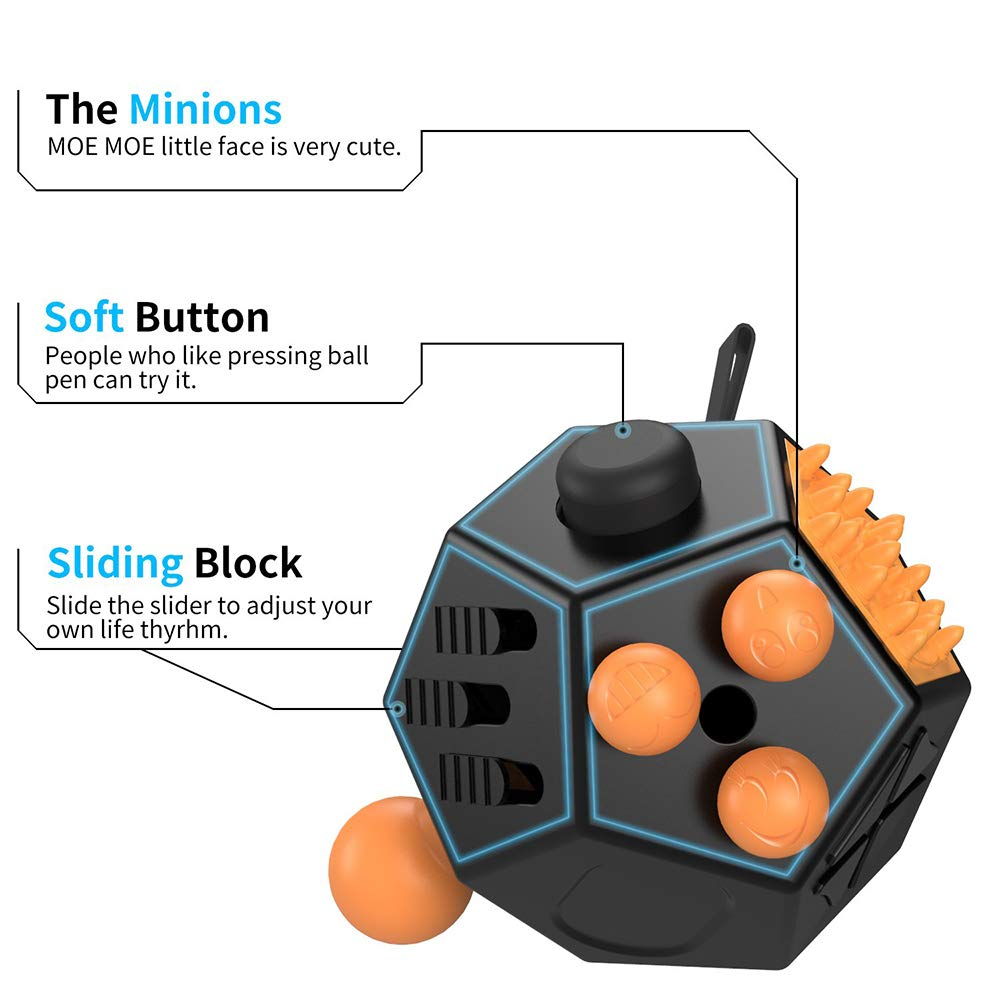 Sxfcool 12 Sided Fidget Cube Fidget Twiddle Cube Dodecagon Rubiks Cube Decompression Hand Toy Decompression for ADD ADHD Autistic Children and Adults by Sxfcool (Image #2)