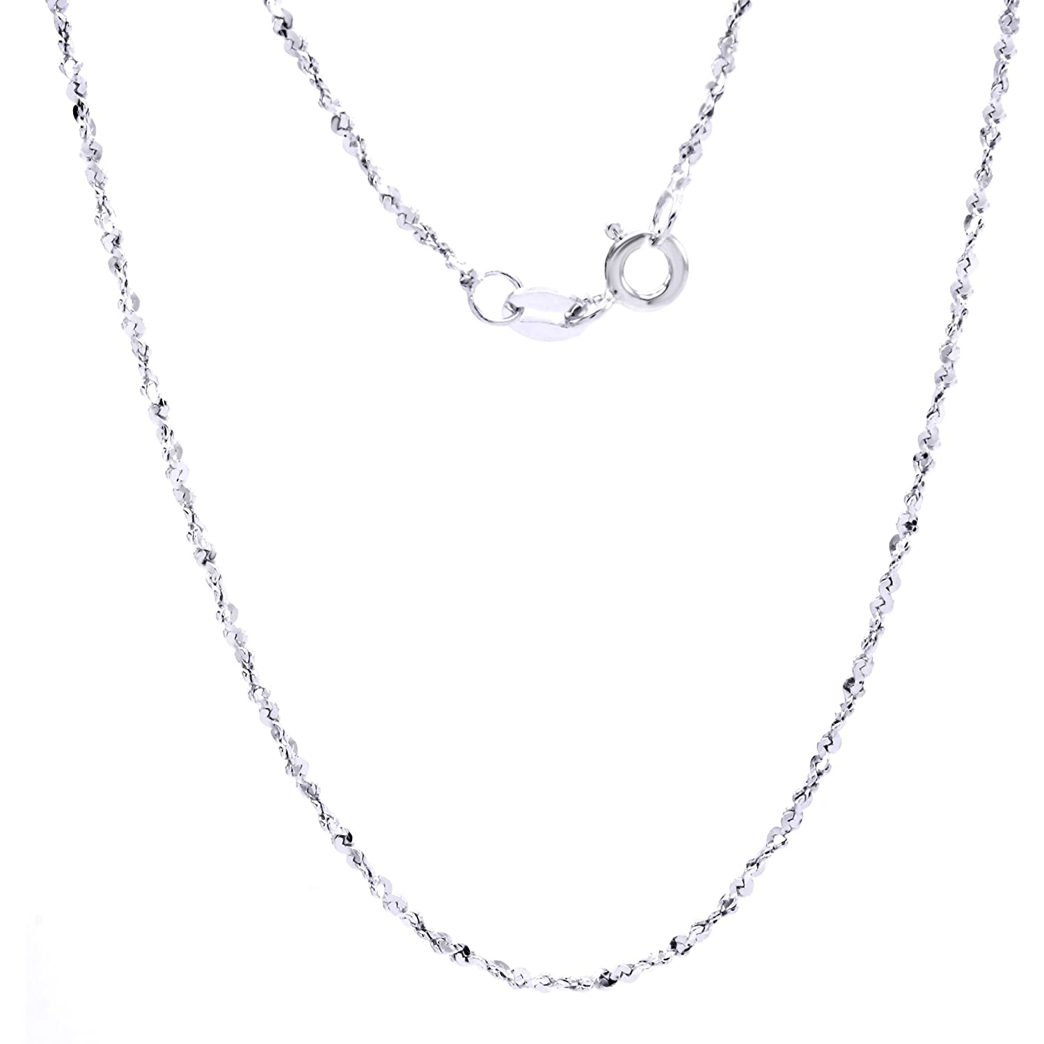 1.26mm Jewel Zone US Sterling Silver Italian Crafted 16 Sparkle Chain Necklace