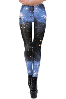 3845f5a8a9cca color cosplayer Womens Galaxy Star Printed Leggings High Waist Elastic  Tight Pants