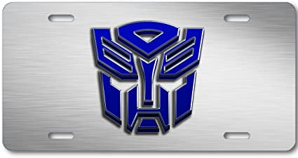 Transformers Autobot Color logo Aluminum Car Truck License Plate Tag Blue