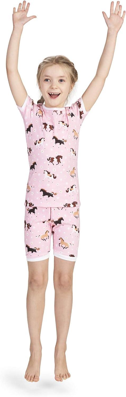 Hatley Girls' Organic Cotton Short Sleeve Printed Pajama Sets