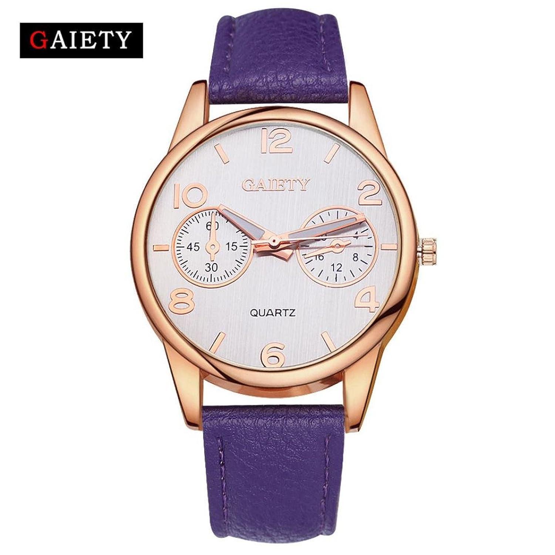 レディースレザー腕時計、Sinmaカジュアルゴールドフレーム腕時計アナログクオーツ腕時計 B071LFQR2G オレンジ