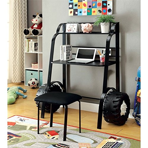 Furniture of America Ramirez Kids Desk with Stool in Black by Furniture of America