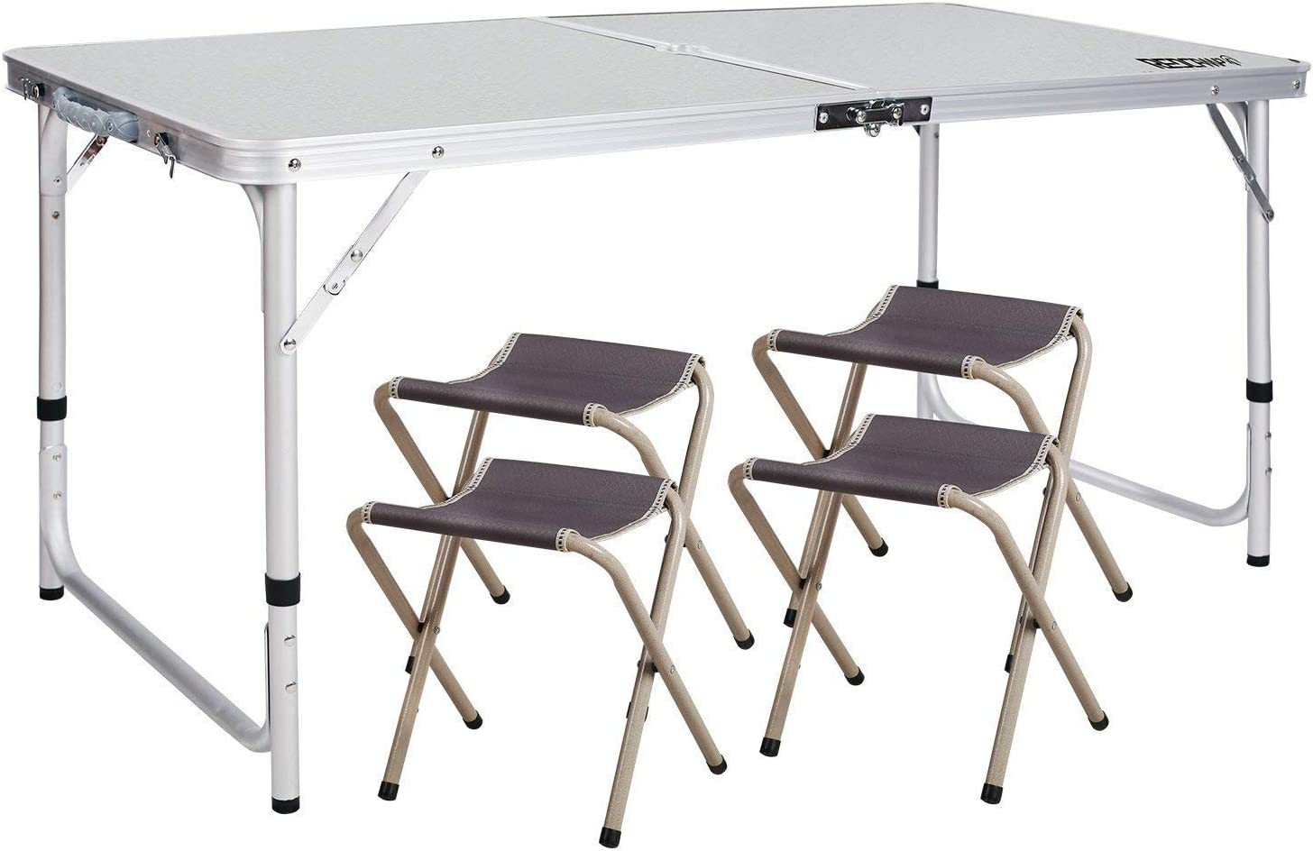 REDCAMP Outdoor Picnic Table Adjustable, Folding Camping Table with 4 Chairs, Aluminum White 47.2 x23.6 x27