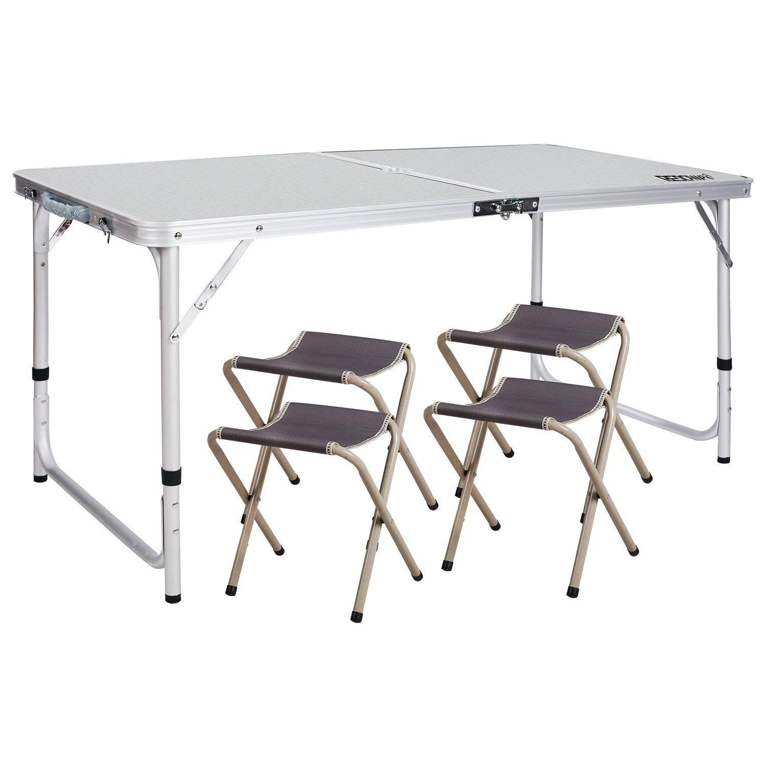 REDCAMP Outdoor Picnic Table Adjustable, Folding Camping Table with 4 Chairs, Aluminum White 47.2''x23.6''x27''