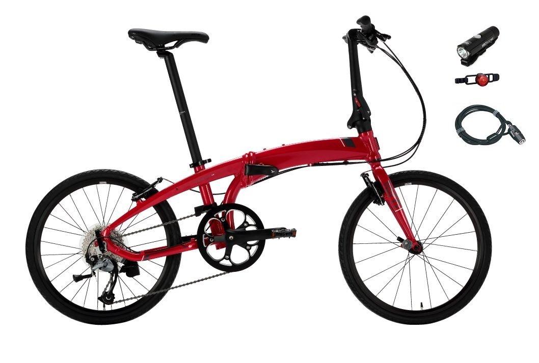 2018年モデル Tern【ターン】 Verge D9 20インチ折り畳み自転車 +フロントライト、テールライト、ロングワイヤー錠 (ダークレッド/グレー) B075H7CQZ4