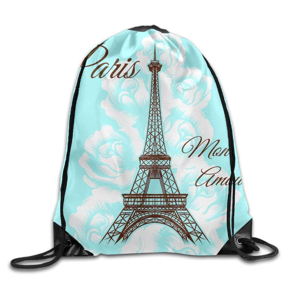 Amazon.com | Drawstring Bag Paris Mon Amour Durable Backpack ...