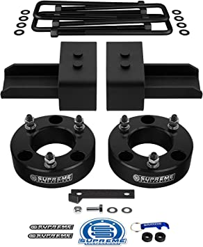 Supreme Suspensions 2 Inch Rear High-Strength Steel Lift Blocks 2WD Rear Leveling Kit for 2004-2020 Ford F-150 3//4th Dual Pins