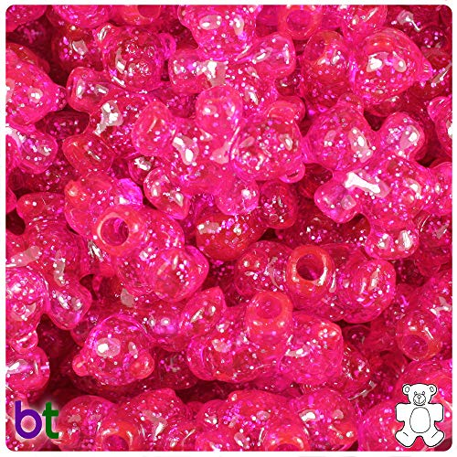 (BeadTin Bright Pink Sparkle 25mm Teddy Bear Pony Beads (24pcs))