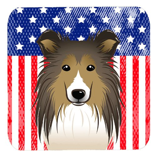 Carolines Treasures BB2172FC American Flag And Sheltie Foam Coaster Set of 4 Multicolor 3.5
