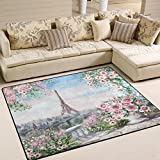 Modern Watercolor Flower Rose French Paris Eiffel Tower Area Rug Pad Non-Slip Kitchen Floor Mat for Living Room Bedroom 5' x 7' Door Mat Home Decor