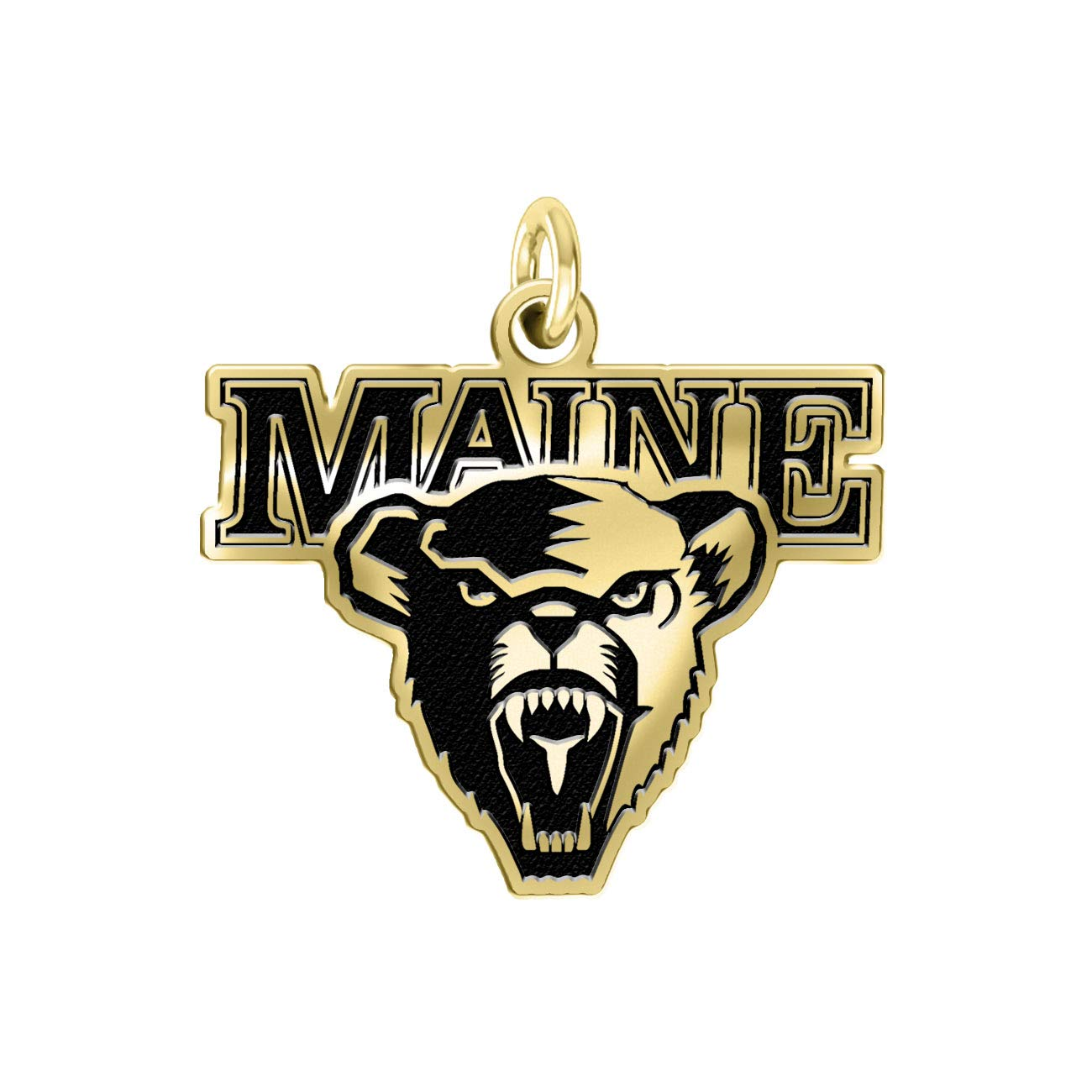 Maine Black Bears 14k Yellow Gold Cut Out Logo College Charm