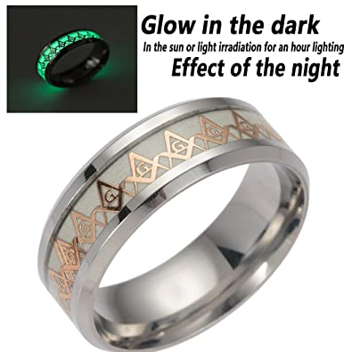 12fc6da2696f8 SUNSCSC Luminous Biker Ring Stainless Steel Gold Vintage Freemason Masonic  Jewelery Band