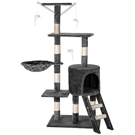Aufun Arbol Gato Árbol para Gatos con Rascador Escalada algodón trepador con Sisal rascadores para Gatos - Gris Humo, Tipo A con 135cm de Altura
