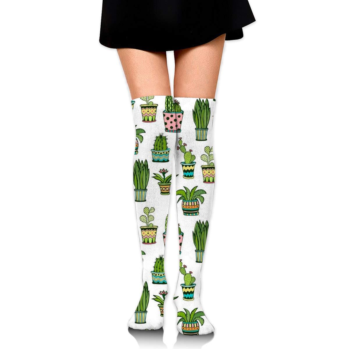 Women Crew Socks Thigh High Knee Succulent Cactus Long Tube Dress Legging Sport Compression Stocking